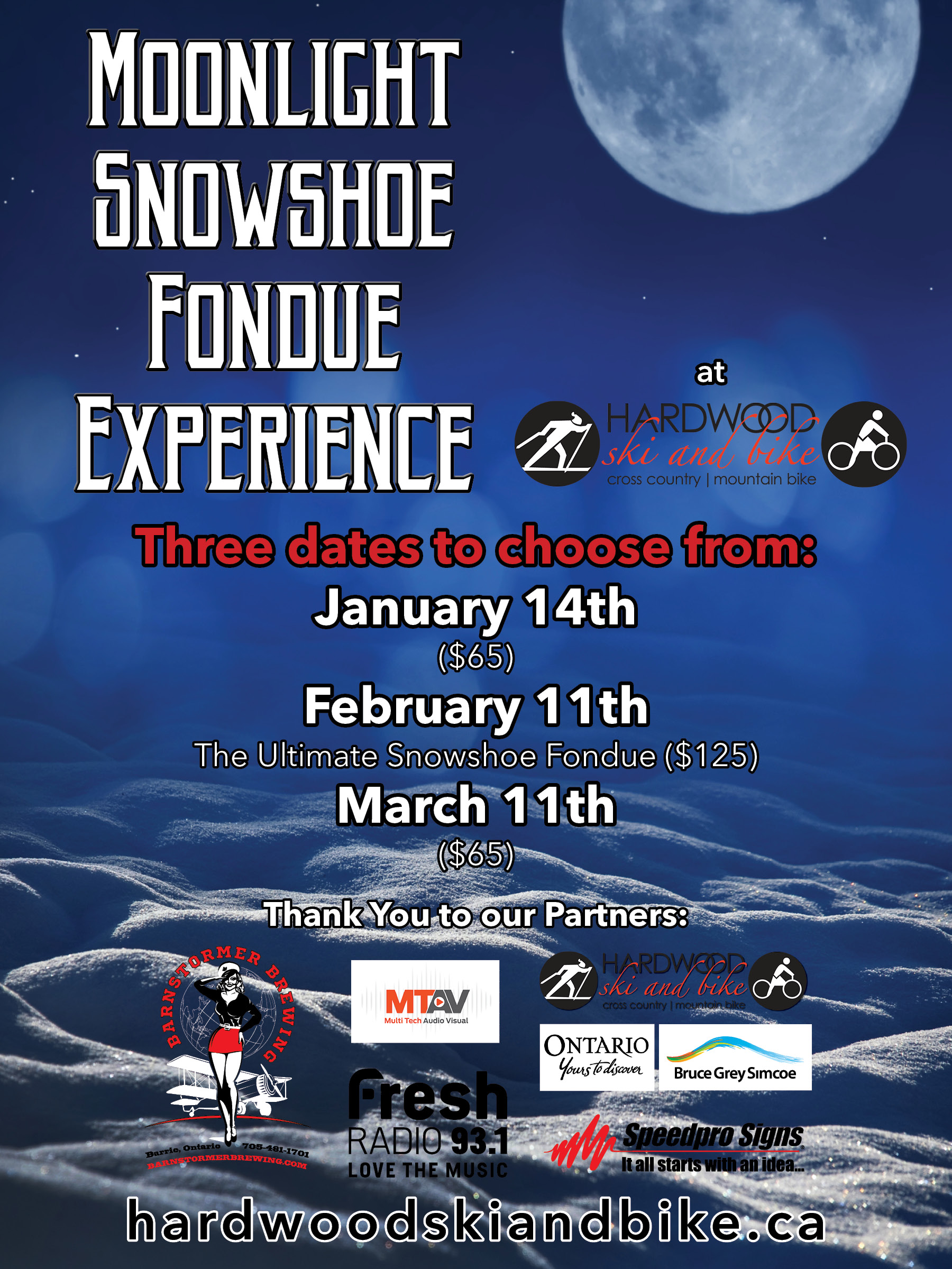 Moonlight Snowshoe Fondue Poster rev 5