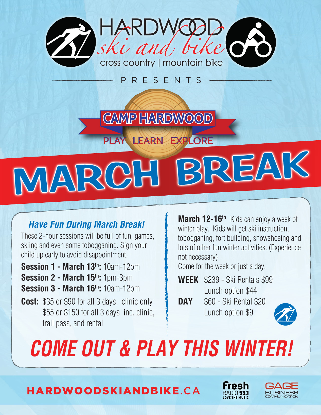 March Break/Camp Hardwood - Cancelled